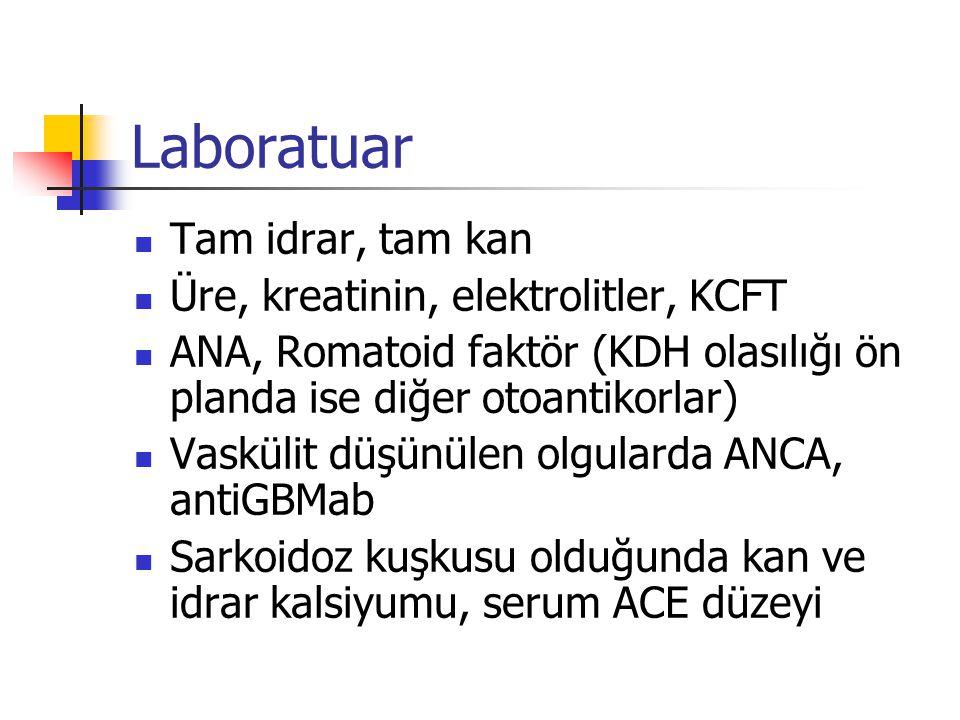 Laboratuar Tam idrar, tam kan Üre, kreatinin, elektrolitler, KCFT ANA, Romatoid faktör (KDH olasılığı ön planda ise diğer otoantikorlar) Vaskülit düşü