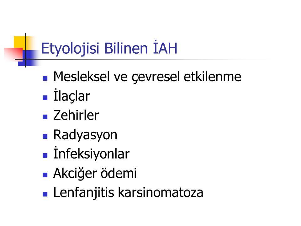 Bronkoalveoler lavaj Sarkoidoz: lenfositoz ve CD4/CD8 oranında artma Hipersensitivite pnömonisi: lenfositoz ve CD4/CD8 oranında düşme İPF: nötrofili (lenfosit ve eozinofiller artabilir) İlaca bağlı akciğer hastalıkları: lenfosit, nötrofil ve eozinofiller artabilir.