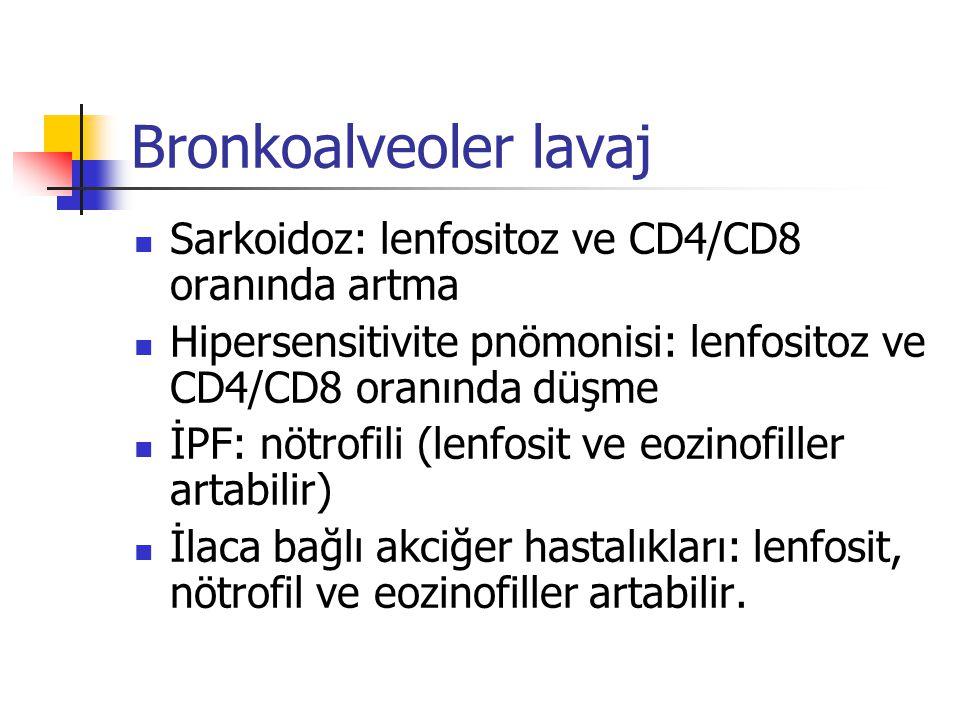 Bronkoalveoler lavaj Sarkoidoz: lenfositoz ve CD4/CD8 oranında artma Hipersensitivite pnömonisi: lenfositoz ve CD4/CD8 oranında düşme İPF: nötrofili (
