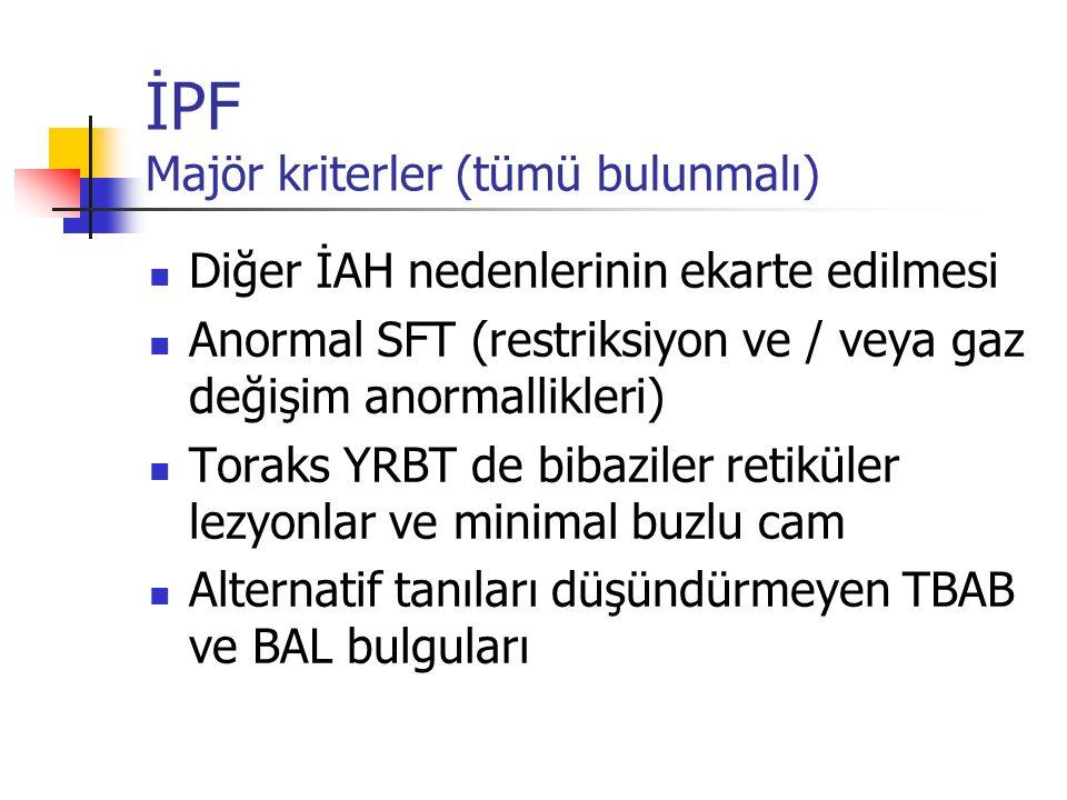 İPF Majör kriterler (tümü bulunmalı) Diğer İAH nedenlerinin ekarte edilmesi Anormal SFT (restriksiyon ve / veya gaz değişim anormallikleri) Toraks YRB