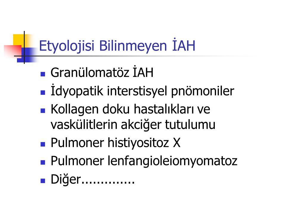 İdyopatik İnterstisyel pnömoniler İdyopatik pulmoner fibroz Desquamatif interstisyel pnömoni Nonspesifik interstisyel pnömoni Akut interstisyel pnömoni Respiratuar bronşiyolitle ilişkili İAH Kriptojenik organize pnömoni Lenfositik interstisyel pnömoni