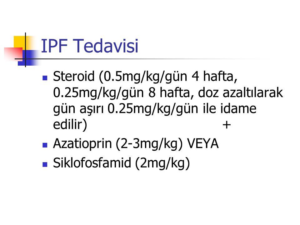 IPF Tedavisi Steroid (0.5mg/kg/gün 4 hafta, 0.25mg/kg/gün 8 hafta, doz azaltılarak gün aşırı 0.25mg/kg/gün ile idame edilir) + Azatioprin (2-3mg/kg) V
