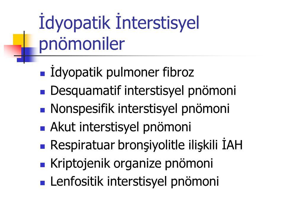 Radyoloji Akciğer grafisi ve YRBT Konsolidasyon Akut: infeksiyon, ARDS, hemoraji, akut eozinofilik pnömoni, COP Kronik: kronik infeksiyonlar, kronik eozinofilik pnömoni, lenfoproliferatif hastalık, bronkoalveoler karsinom, PAP, sarkoidoz (nadiren)