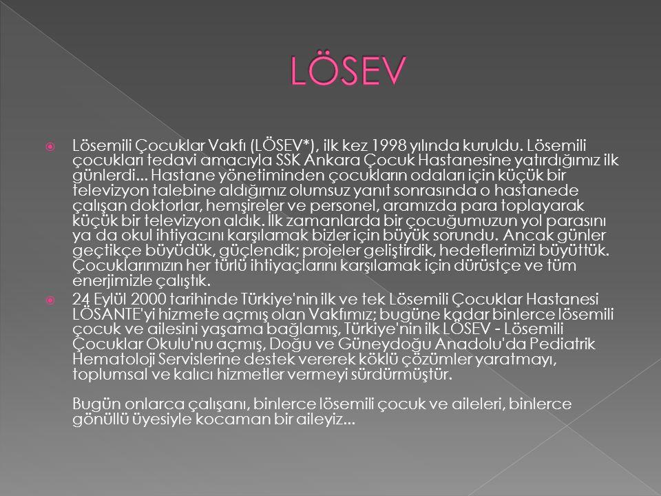  Lösemili Çocuklar Vakfı (LÖSEV*), ilk kez 1998 yılında kuruldu. Lösemili çocukları tedavi amacıyla SSK Ankara Çocuk Hastanesine yatırdığımız ilk gün