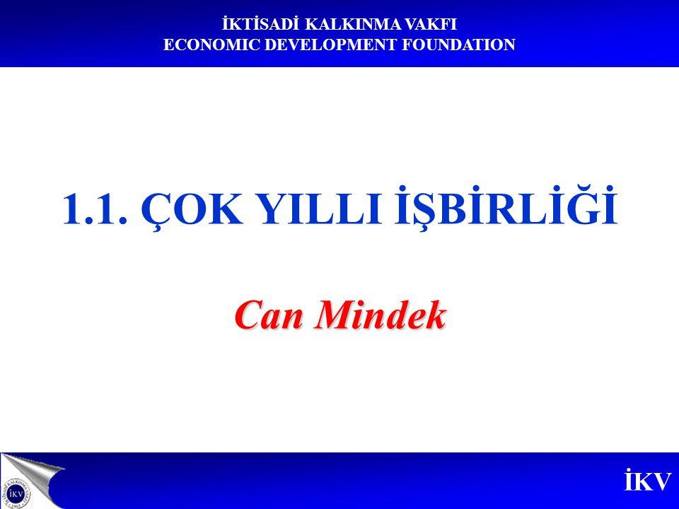 İKV İKTİSADİ KALKINMA VAKFI ECONOMIC DEVELOPMENT FOUNDATION Can Mindek 1.1. ÇOK YILLI İŞBİRLİĞİ Can Mindek