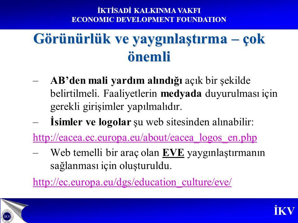 İKV İKTİSADİ KALKINMA VAKFI ECONOMIC DEVELOPMENT FOUNDATION Görünürlük ve yaygınlaştırma – çok önemli –AB'den mali yardım alındığı açık bir şekilde belirtilmeli.