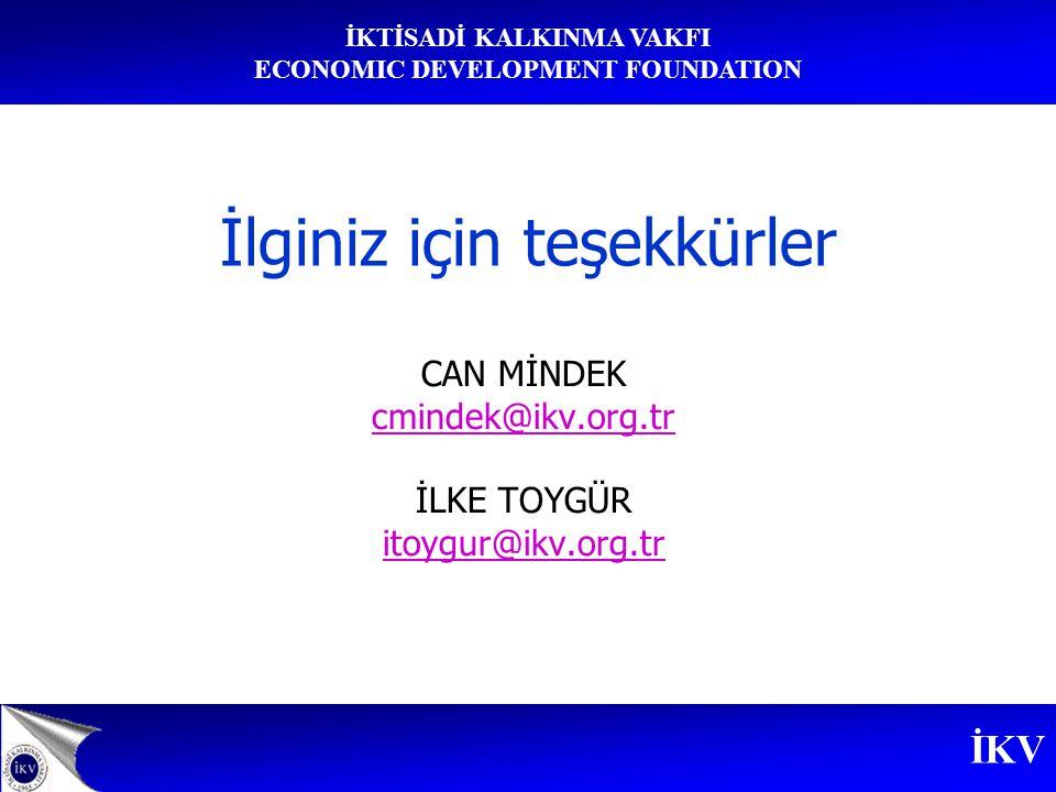 İKV İKTİSADİ KALKINMA VAKFI ECONOMIC DEVELOPMENT FOUNDATION İlginiz için teşekkürler CAN MİNDEK cmindek@ikv.org.tr İLKE TOYGÜR itoygur@ikv.org.tr