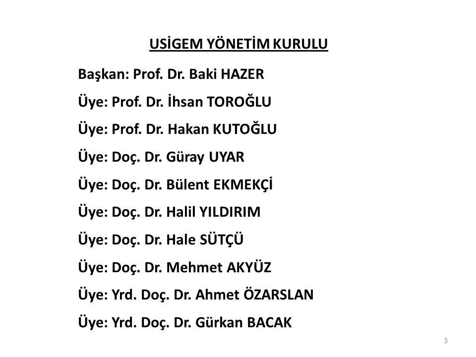 3 USİGEM YÖNETİM KURULU Başkan: Prof. Dr. Baki HAZER Üye: Prof. Dr. İhsan TOROĞLU Üye: Prof. Dr. Hakan KUTOĞLU Üye: Doç. Dr. Güray UYAR Üye: Doç. Dr.