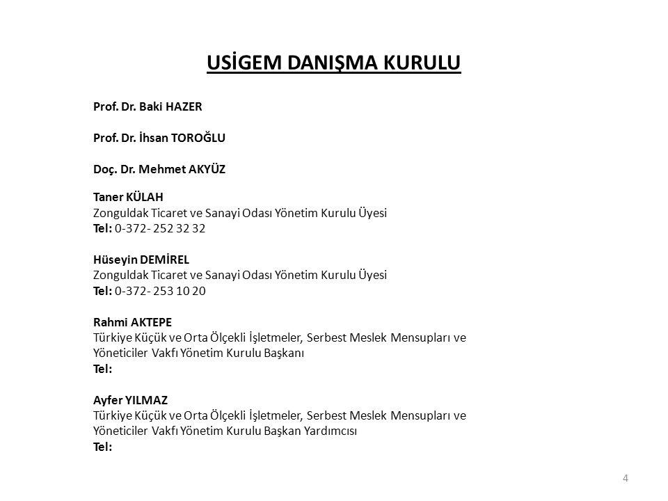4 USİGEM DANIŞMA KURULU Prof. Dr. Baki HAZER Prof. Dr. İhsan TOROĞLU Doç. Dr. Mehmet AKYÜZ Taner KÜLAH Zonguldak Ticaret ve Sanayi Odası Yönetim Kurul