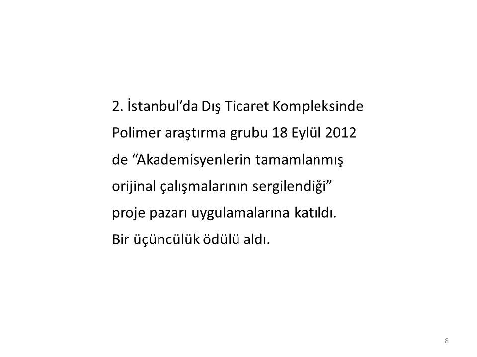"""8 2. İstanbul'da Dış Ticaret Kompleksinde Polimer araştırma grubu 18 Eylül 2012 de """"Akademisyenlerin tamamlanmış orijinal çalışmalarının sergilendiği"""""""