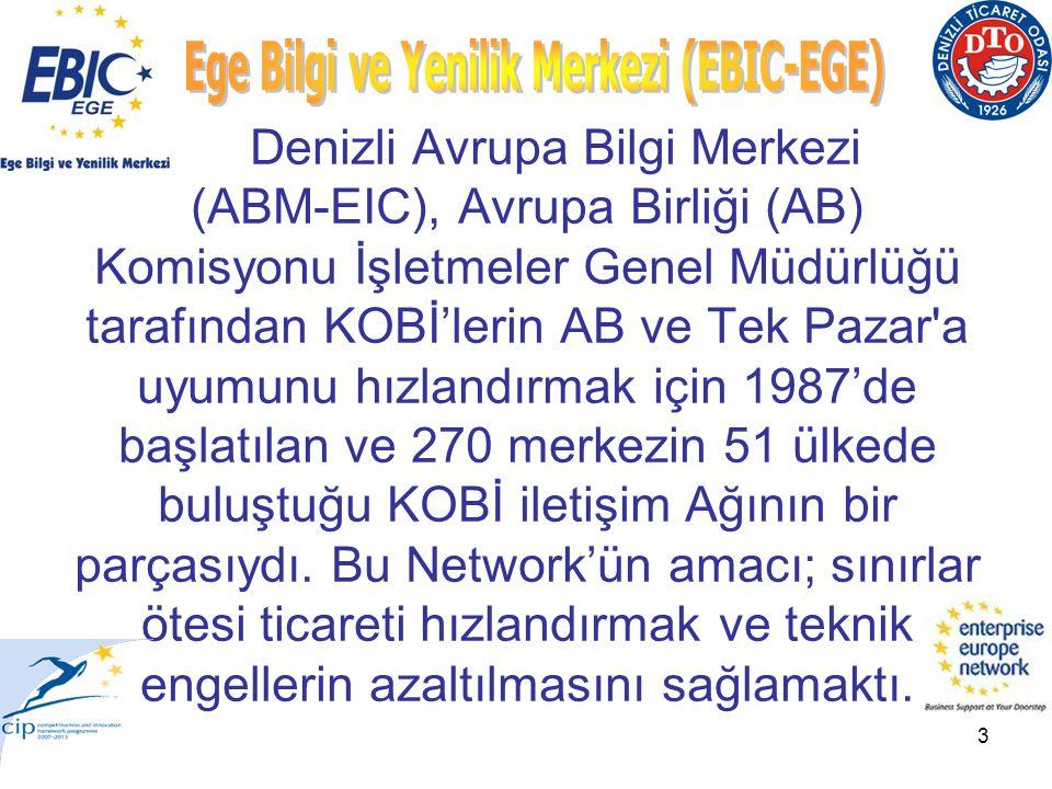 3 Denizli Avrupa Bilgi Merkezi (ABM-EIC), Avrupa Birliği (AB) Komisyonu İşletmeler Genel Müdürlüğü tarafından KOBİ'lerin AB ve Tek Pazar a uyumunu hızlandırmak için 1987'de başlatılan ve 270 merkezin 51 ülkede buluştuğu KOBİ iletişim Ağının bir parçasıydı.