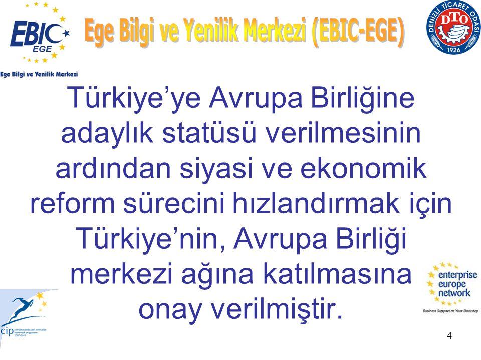 4 Türkiye'ye Avrupa Birliğine adaylık statüsü verilmesinin ardından siyasi ve ekonomik reform sürecini hızlandırmak için Türkiye'nin, Avrupa Birliği merkezi ağına katılmasına onay verilmiştir.