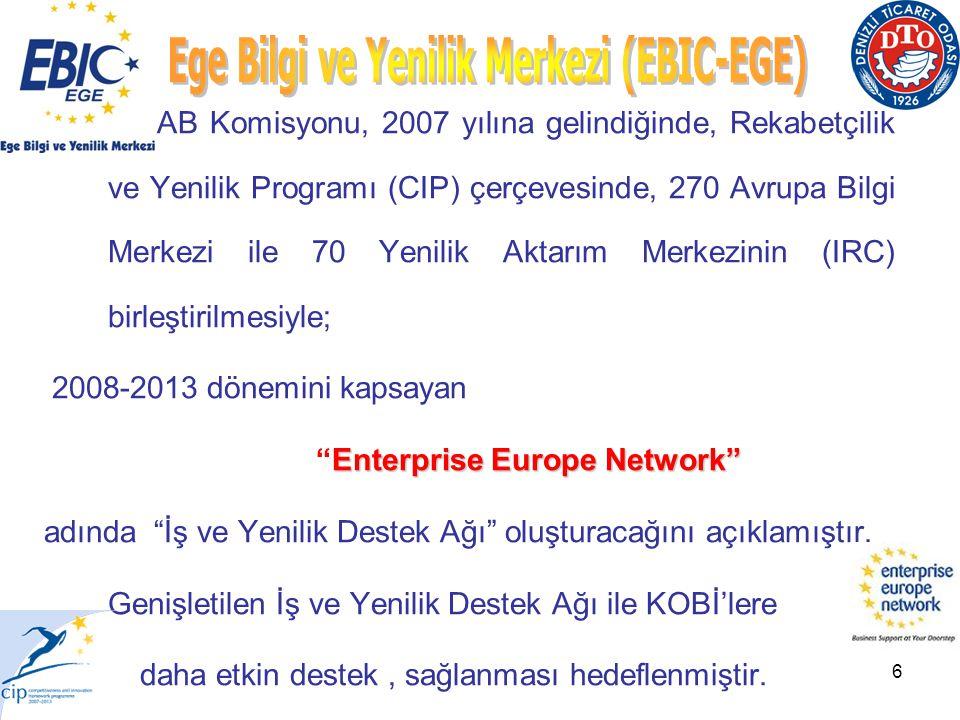 6 AB Komisyonu, 2007 yılına gelindiğinde, Rekabetçilik ve Yenilik Programı (CIP) çerçevesinde, 270 Avrupa Bilgi Merkezi ile 70 Yenilik Aktarım Merkezinin (IRC) birleştirilmesiyle; 2008-2013 dönemini kapsayan Enterprise Europe Network Enterprise Europe Network adında İş ve Yenilik Destek Ağı oluşturacağını açıklamıştır.