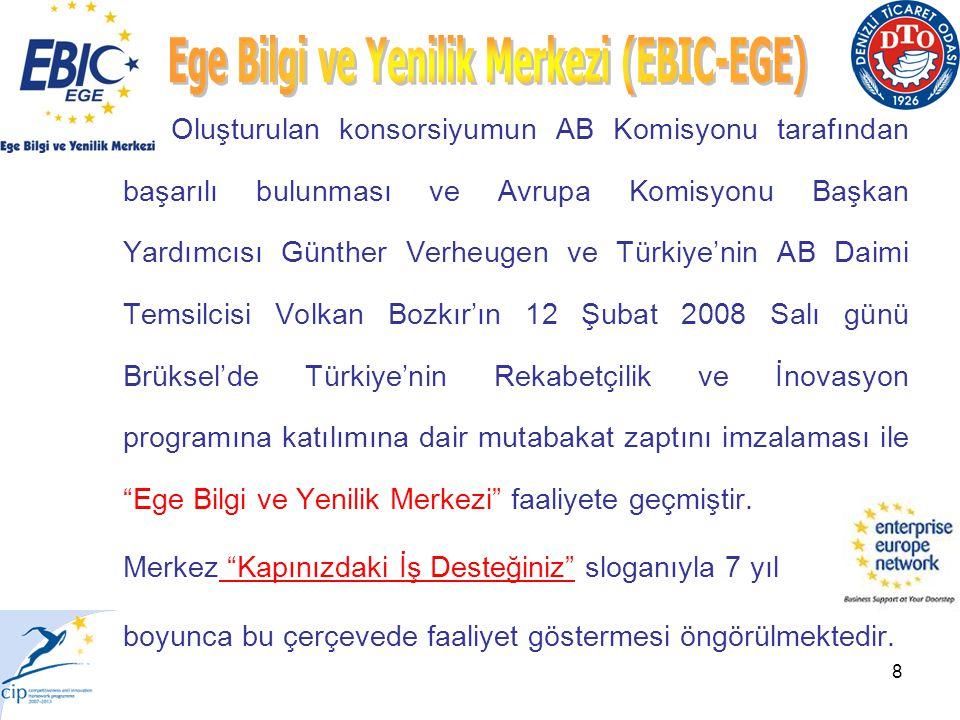 8 Oluşturulan konsorsiyumun AB Komisyonu tarafından başarılı bulunması ve Avrupa Komisyonu Başkan Yardımcısı Günther Verheugen ve Türkiye'nin AB Daimi Temsilcisi Volkan Bozkır'ın 12 Şubat 2008 Salı günü Brüksel'de Türkiye'nin Rekabetçilik ve İnovasyon programına katılımına dair mutabakat zaptını imzalaması ile Ege Bilgi ve Yenilik Merkezi faaliyete geçmiştir.