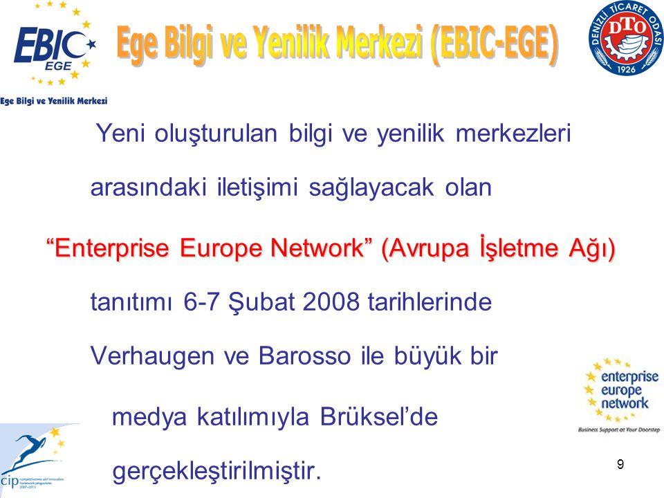 9 Yeni oluşturulan bilgi ve yenilik merkezleri arasındaki iletişimi sağlayacak olan Enterprise Europe Network (Avrupa İşletme Ağı) Enterprise Europe Network (Avrupa İşletme Ağı) tanıtımı 6-7 Şubat 2008 tarihlerinde Verhaugen ve Barosso ile büyük bir medya katılımıyla Brüksel'de gerçekleştirilmiştir.