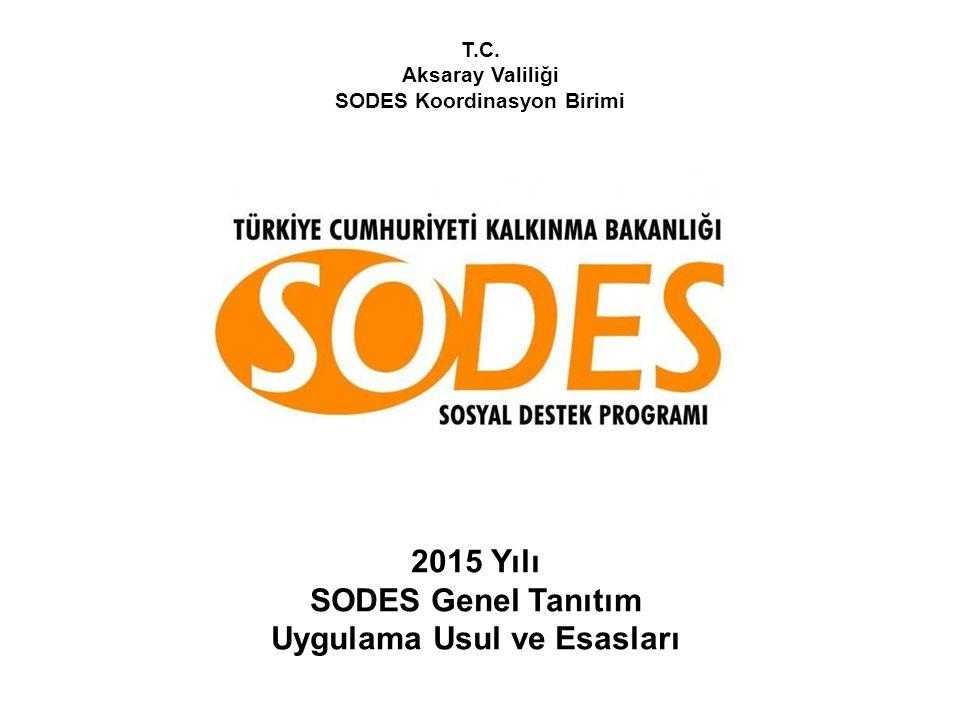 T.C. Aksaray Valiliği SODES Koordinasyon Birimi 2015 Yılı SODES Genel Tanıtım Uygulama Usul ve Esasları