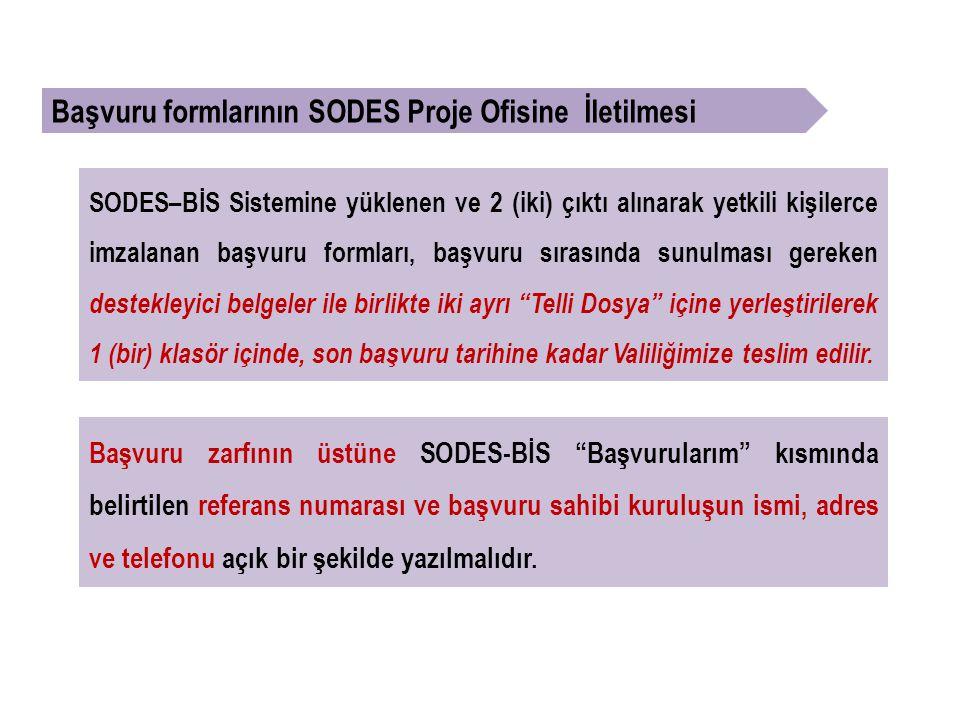 SODES–BİS Sistemine yüklenen ve 2 (iki) çıktı alınarak yetkili kişilerce imzalanan başvuru formları, başvuru sırasında sunulması gereken destekleyici