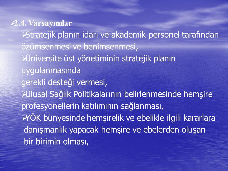  2.4. Varsayımlar  Stratejik planın idari ve akademik personel tarafından özümsenmesi ve benimsenmesi,  Üniversite üst yönetiminin stratejik planın