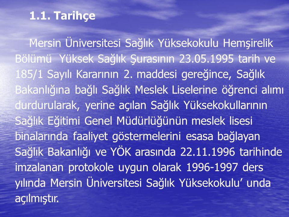1.1. Tarihçe Mersin Üniversitesi Sağlık Yüksekokulu Hemşirelik Bölümü Yüksek Sağlık Şurasının 23.05.1995 tarih ve 185/1 Sayılı Kararının 2. maddesi ge