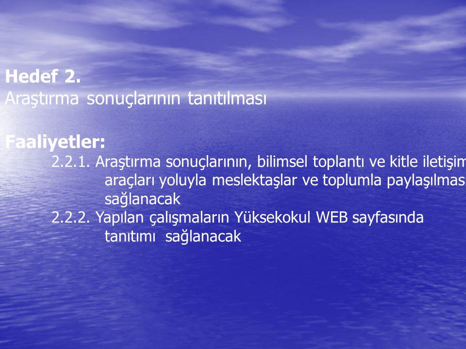 Hedef 2. Araştırma sonuçlarının tanıtılması Faaliyetler: 2.2.1. Araştırma sonuçlarının, bilimsel toplantı ve kitle iletişim araçları yoluyla meslektaş