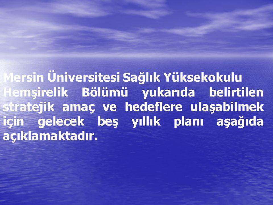 Mersin Üniversitesi Sağlık Yüksekokulu Hemşirelik Bölümü yukarıda belirtilen stratejik amaç ve hedeflere ulaşabilmek için gelecek beş yıllık planı aşa