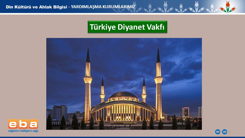 11 - YARDIMLAŞMA KURUMLARIMIZ Türkiye Diyanet Vakfı