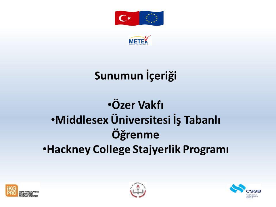 Sunumun İçeriği Özer Vakfı Middlesex Üniversitesi İş Tabanlı Öğrenme Hackney College Stajyerlik Programı
