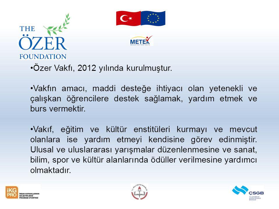 Özer Vakfı, 2012 yılında kurulmuştur.