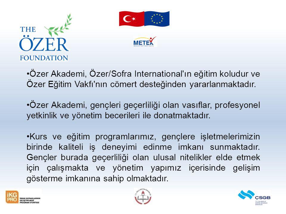 Özer Akademi, Özer/Sofra International ın eğitim koludur ve Özer Eğitim Vakfı nın cömert desteğinden yararlanmaktadır.