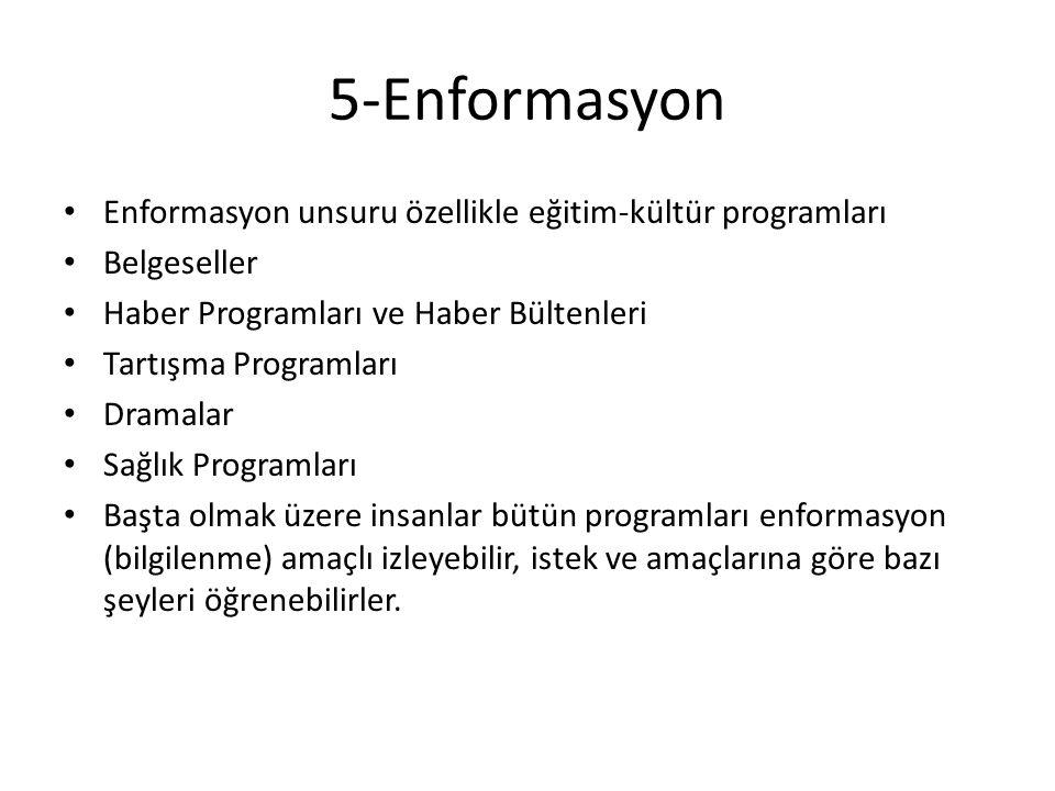 5-Enformasyon Enformasyon unsuru özellikle eğitim-kültür programları Belgeseller Haber Programları ve Haber Bültenleri Tartışma Programları Dramalar S
