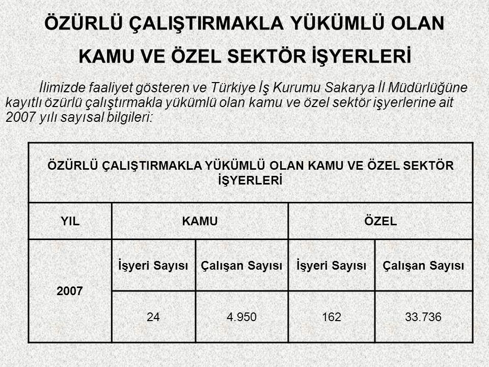 ÖZÜRLÜ ÇALIŞTIRMAKLA YÜKÜMLÜ OLAN KAMU VE ÖZEL SEKTÖR İŞYERLERİ İlimizde faaliyet gösteren ve Türkiye İş Kurumu Sakarya İl Müdürlüğüne kayıtlı özürlü çalıştırmakla yükümlü olan kamu ve özel sektör işyerlerine ait 2007 yılı sayısal bilgileri: ÖZÜRLÜ ÇALIŞTIRMAKLA YÜKÜMLÜ OLAN KAMU VE ÖZEL SEKTÖR İŞYERLERİ YILKAMUÖZEL 2007 İşyeri SayısıÇalışan Sayısıİşyeri SayısıÇalışan Sayısı 244.95016233.736