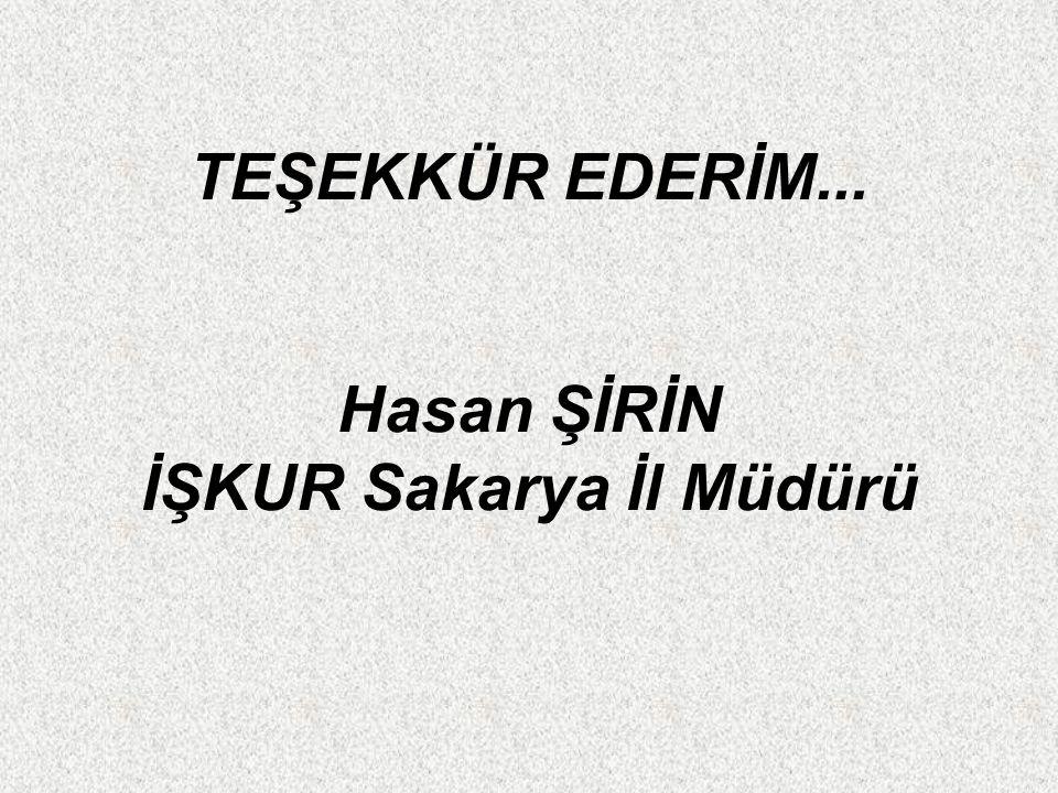 TEŞEKKÜR EDERİM... Hasan ŞİRİN İŞKUR Sakarya İl Müdürü