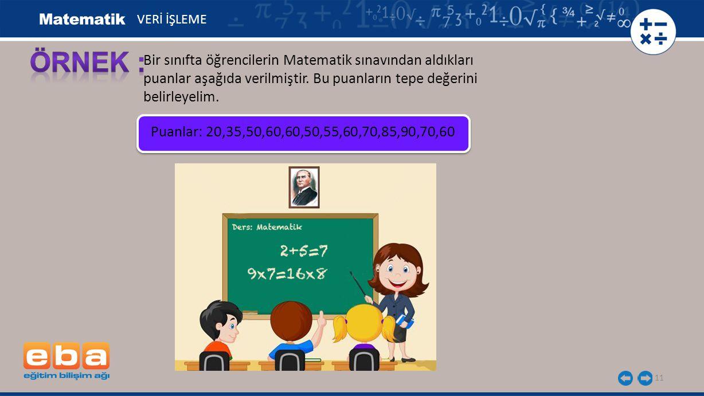 11 Bir sınıfta öğrencilerin Matematik sınavından aldıkları puanlar aşağıda verilmiştir. Bu puanların tepe değerini belirleyelim. VERİ İŞLEME Puanlar: