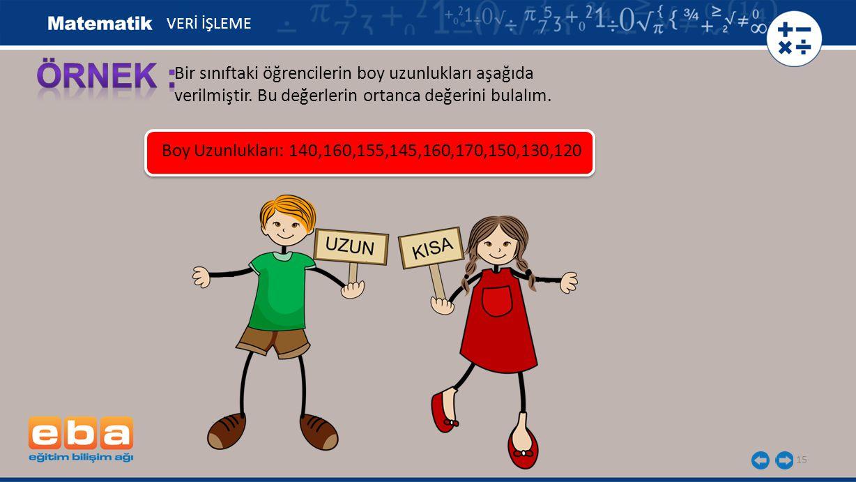 15 Bir sınıftaki öğrencilerin boy uzunlukları aşağıda verilmiştir. Bu değerlerin ortanca değerini bulalım. VERİ İŞLEME Boy Uzunlukları: 140,160,155,14