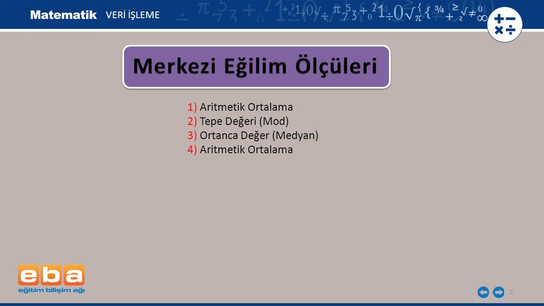 3 1) Aritmetik Ortalama 2) Tepe Değeri (Mod) 3) Ortanca Değer (Medyan) 4) Aritmetik Ortalama VERİ İŞLEME Veri grubundaki sayı değerleri toplamının gruptaki toplam birey sayısına bölünerek bulunur.