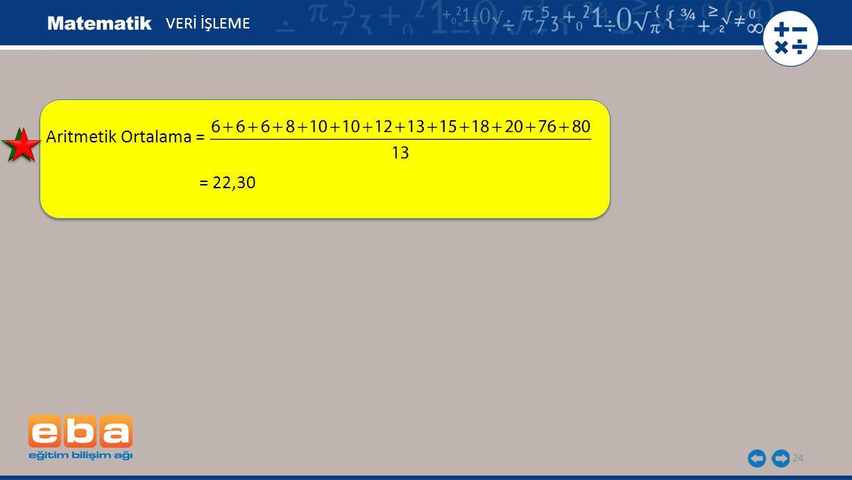 24 VERİ İŞLEME Aritmetik Ortalama = = 22,30