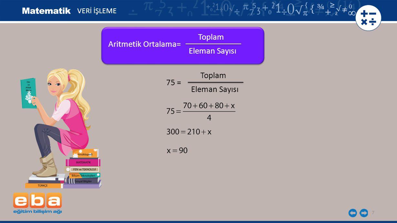 18 Aşağıda verilen veri grubundaki değerlerin aritmetik ortalamasını, tepe değerini (mod) ve ortanca değerini (medyan) belirleyelim.