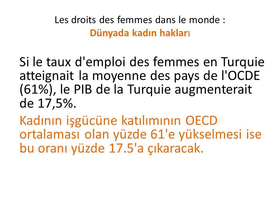 Si le taux d emploi des femmes en Turquie atteignait la moyenne des pays de l OCDE (61%), le PIB de la Turquie augmenterait de 17,5%.