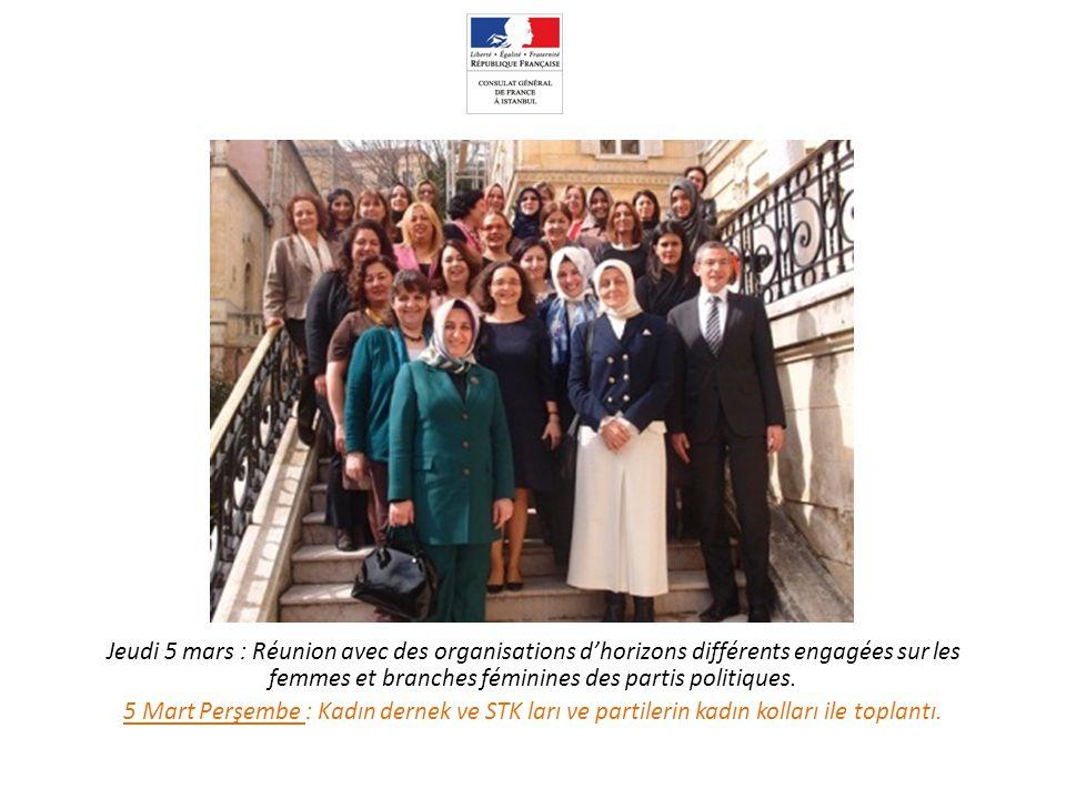 Jeudi 5 mars : Réunion avec des organisations d'horizons différents engagées sur les femmes et branches féminines des partis politiques.