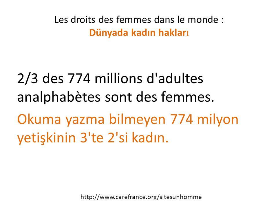2/3 des 774 millions d adultes analphabètes sont des femmes.