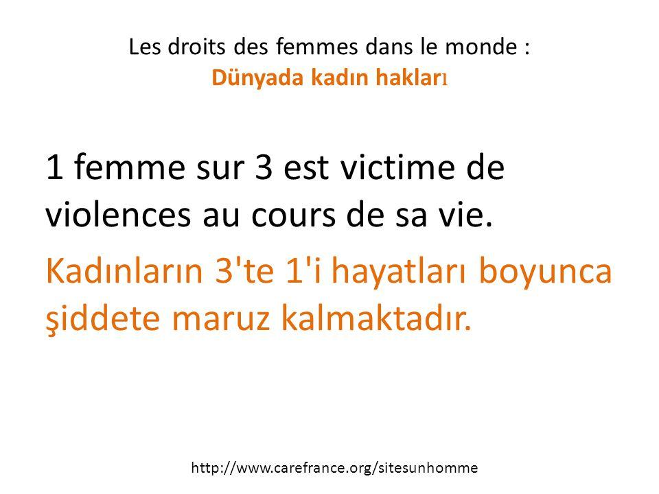 1 femme sur 3 est victime de violences au cours de sa vie.