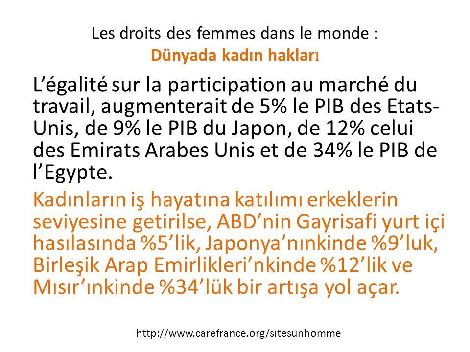 L'égalité sur la participation au marché du travail, augmenterait de 5% le PIB des Etats- Unis, de 9% le PIB du Japon, de 12% celui des Emirats Arabes Unis et de 34% le PIB de l'Egypte.