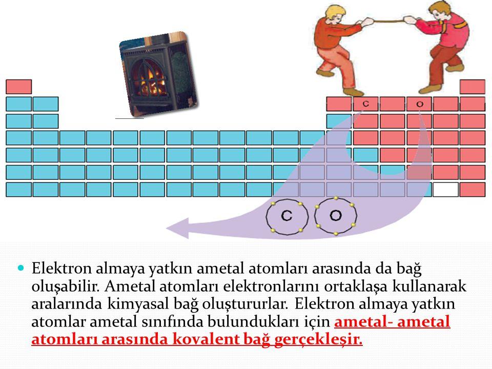 Elektron almaya yatkın ametal atomları arasında da bağ oluşabilir. Ametal atomları elektronlarını ortaklaşa kullanarak aralarında kimyasal bağ oluştur