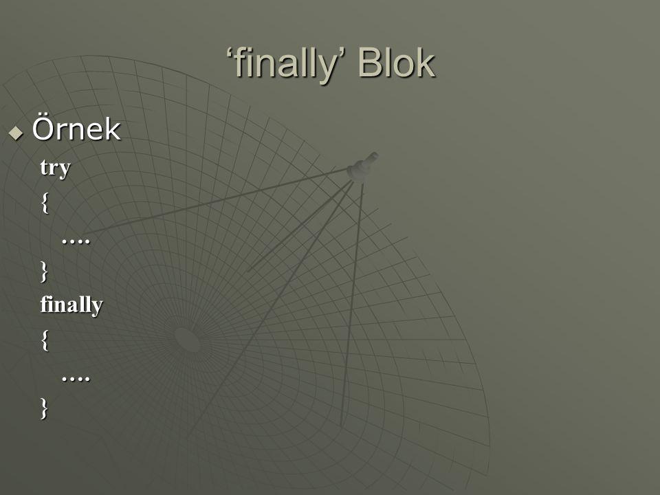 'finally' Blok  Örnek try{….}finally{….}