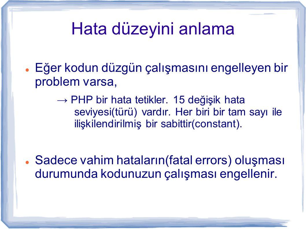 Hata Düzeyleri DeğerSabitAçıklama 1E_ERROR (integer)Ölümcül çalışma anı hataları.