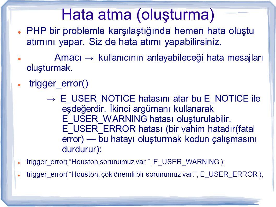 Örnek <?php function hesapla( $toplam, $gun) { return ( $toplam / $gun ); } echo hesapla ( 10, 0 ); .