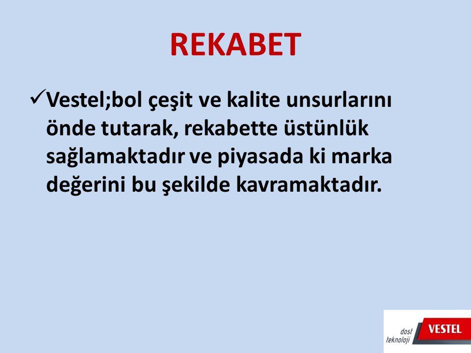 REKABET Vestel;bol çeşit ve kalite unsurlarını önde tutarak, rekabette üstünlük sağlamaktadır ve piyasada ki marka değerini bu şekilde kavramaktadır.