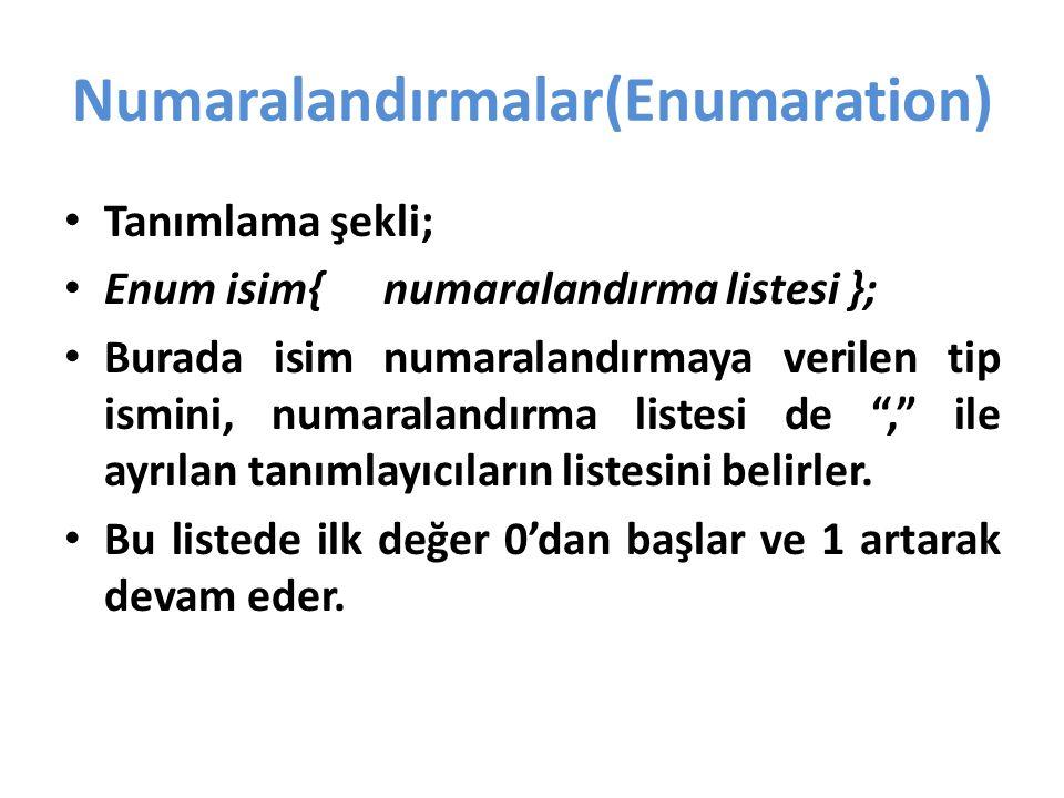 Numaralandırmalar(Enumaration) Tanımlama şekli; Enum isim{ numaralandırma listesi }; Burada isim numaralandırmaya verilen tip ismini, numaralandırma listesi de , ile ayrılan tanımlayıcıların listesini belirler.