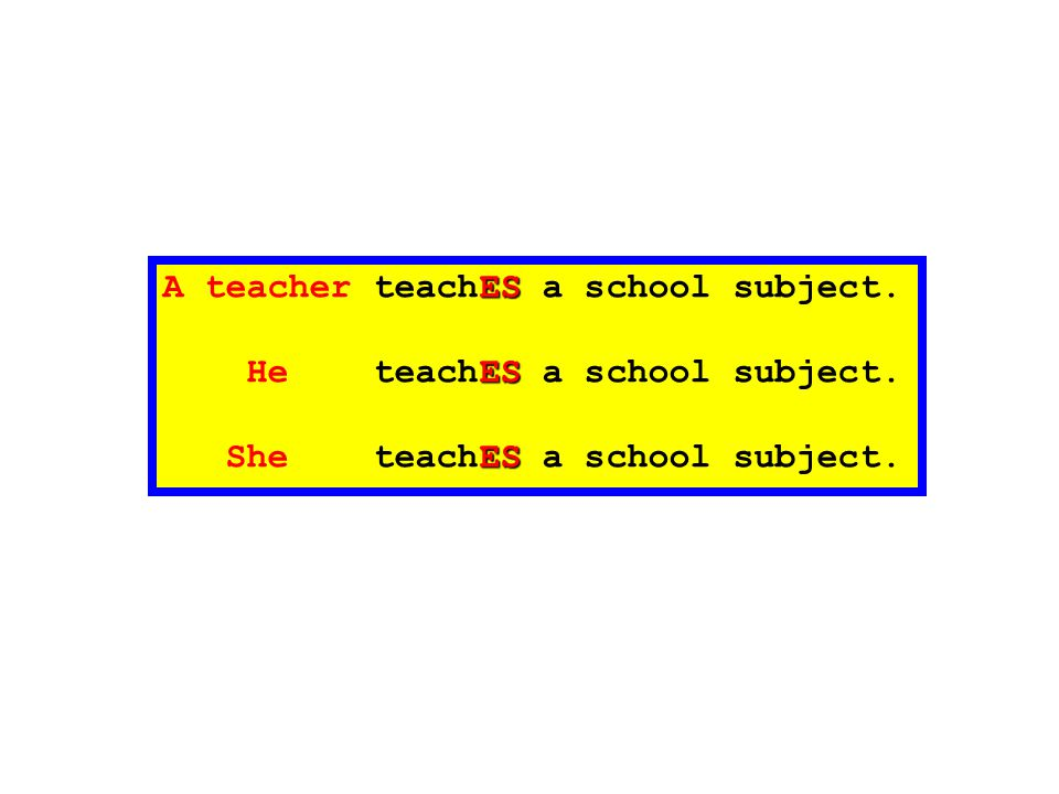 ES A teacher teachES a school subject. ES He teachES a school subject. ES She teachES a school subject.