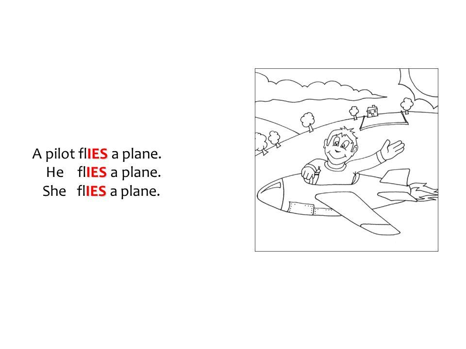 IES A pilot flIES a plane. IES He flIES a plane. IES She flIES a plane.